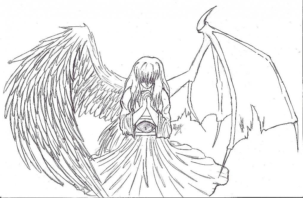 раскраска ангелы и демоны выбираете детское